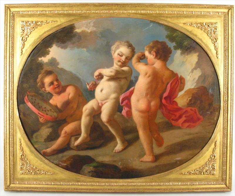 Feb11-3738Italian School, 18th Century, Three Putti, .27600