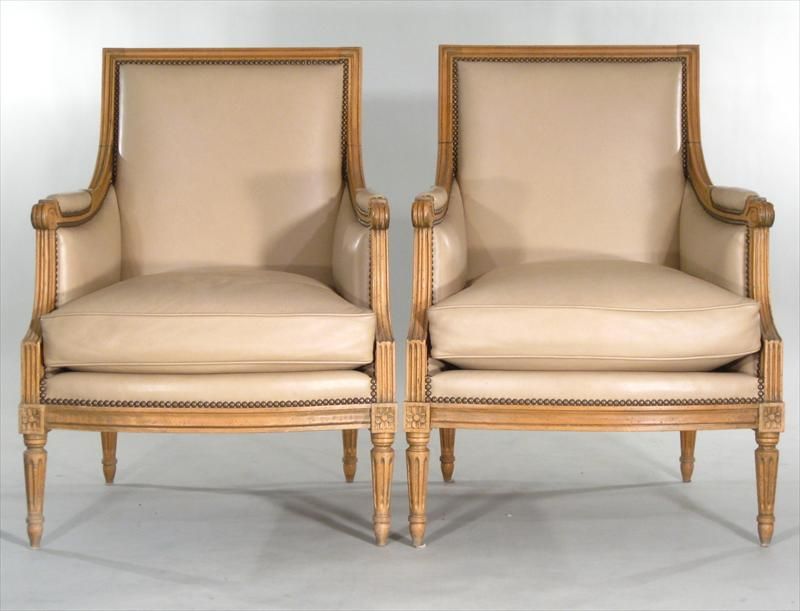Feb11-4013Pair Of Louis XVI Style Carved Fruitwood Bergeres,3960