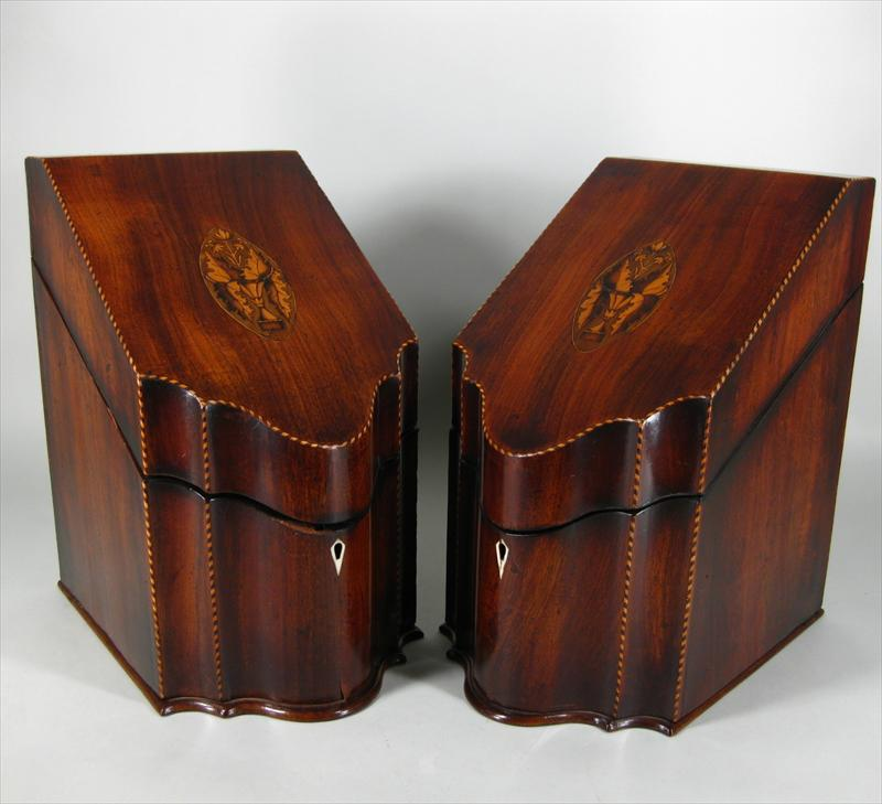 Feb11-572Pair Of George III Inlaid Mahogany Cutlery Boxes3420