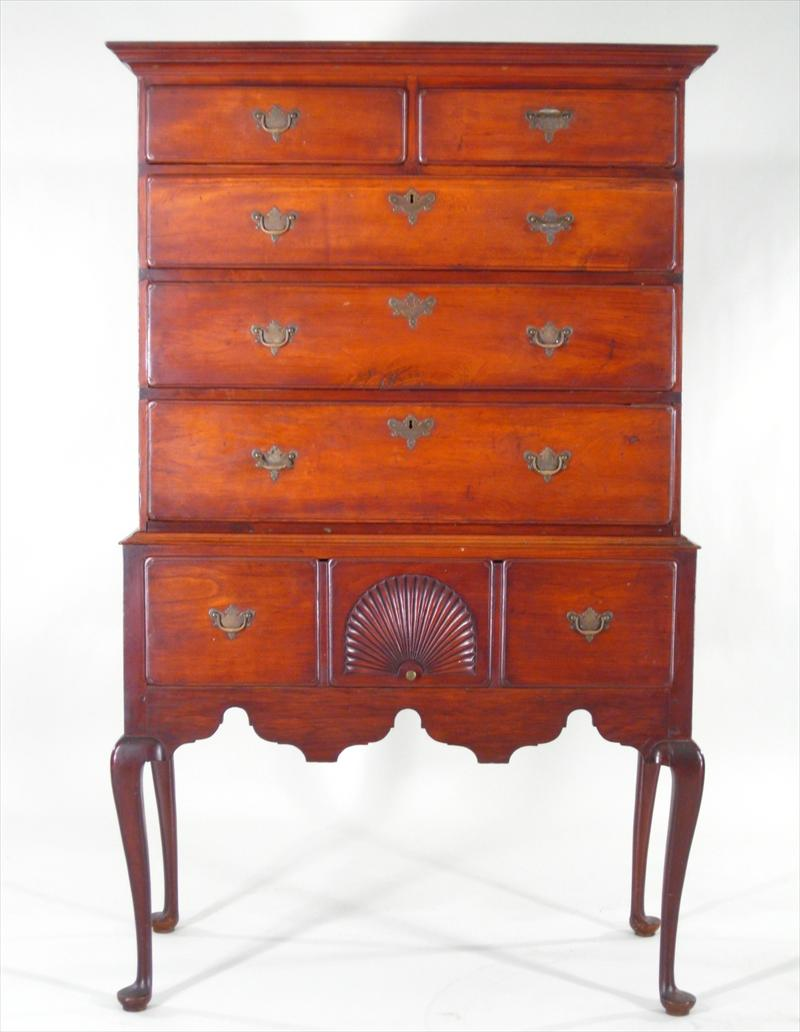 Feb11-865Diminutive Queen Anne Cherrywood Flat-top Highboy8400