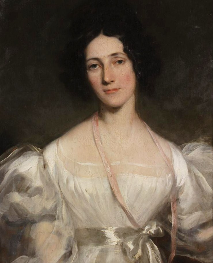 19th C. Portrait Of Woman In White Dress. Sold For $18,000
