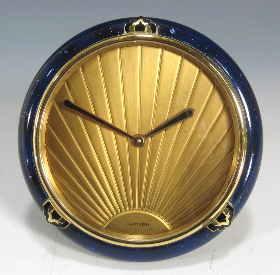 Cartier Lapis Lazuli, Gilt And Enamel Clock