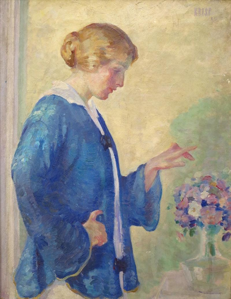 Arthur W. Crisp, Woman With Bouquet, 1915