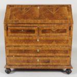 Continental Burl Walnut Veneer Parquetry Slant Front Desk, 19th-20th C.