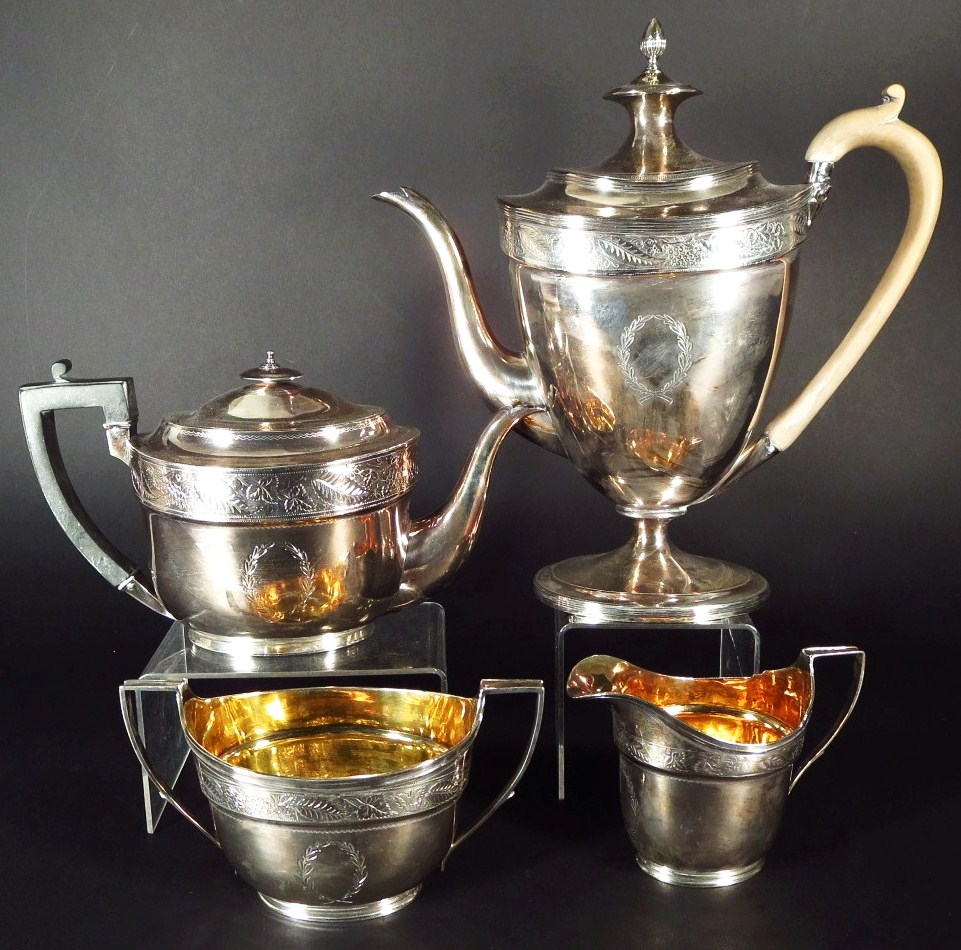 George III Sterling Silver Tea & Coffee Service, John Emes, London, 1800-1804