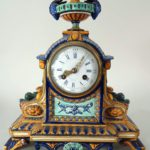 Gien French Faience Mantle Clock, Works By Tiffany & Co., C. 1880