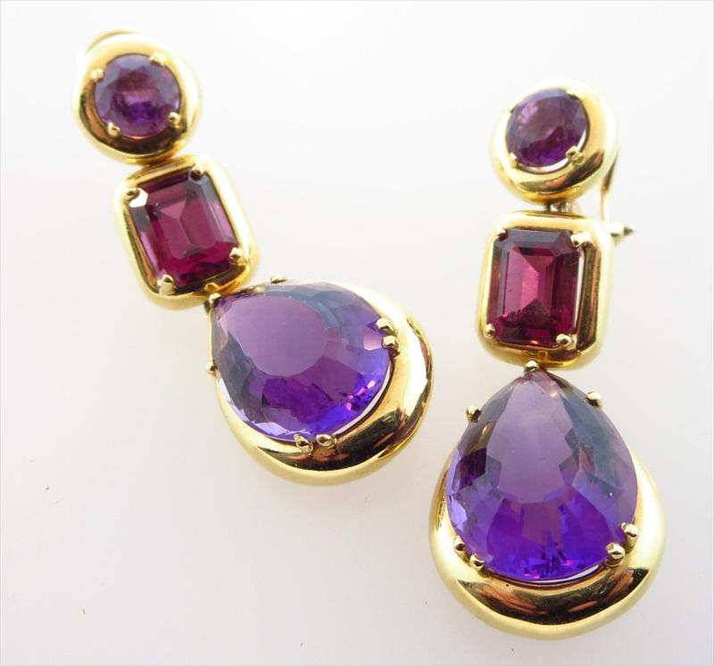 18K Yellow Gold And Semi-Precious Stone Drop Earrings. SOLD FOR $1,920