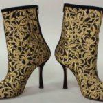 Black And Gold Short Boot By Oscar De La Renta