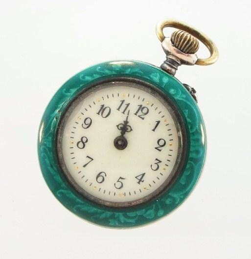 Ladies Green Enamel Pocket Watch, Swiss, 19th C.