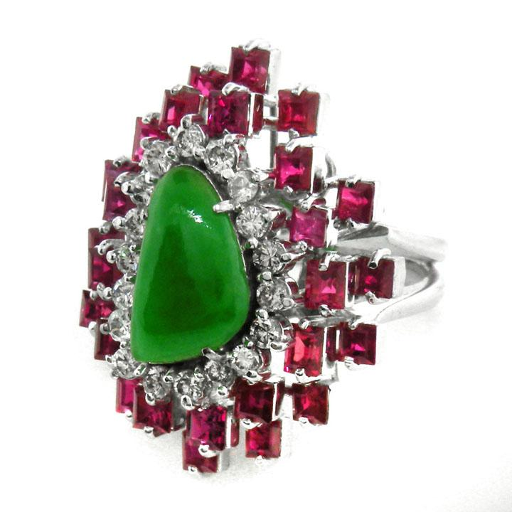 Modernist 18K Gold, Jade, Ruby, And Diamond Ring