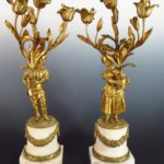 A Pair Of Ormolu And White Marble Table Candelabra, 18th-19th C.