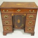 Edwardian Mahogany And Satinwood Inlaid Kneehole Desk, Late 18th-Early 19th C.