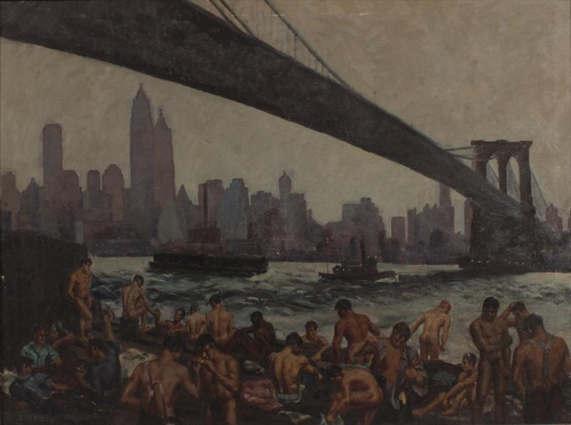 Edward F. Casey, American, B. 1897, Stevedores Bathing Under Brooklyn Bridge, 1939. Sold For $7,500