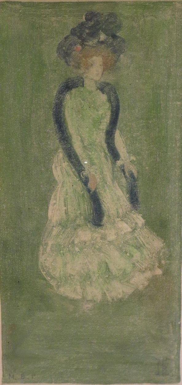 Maurice Prendergast, Am., 1858-1924, Lady In Green Dress, C. 1900. Sold For 13,750.