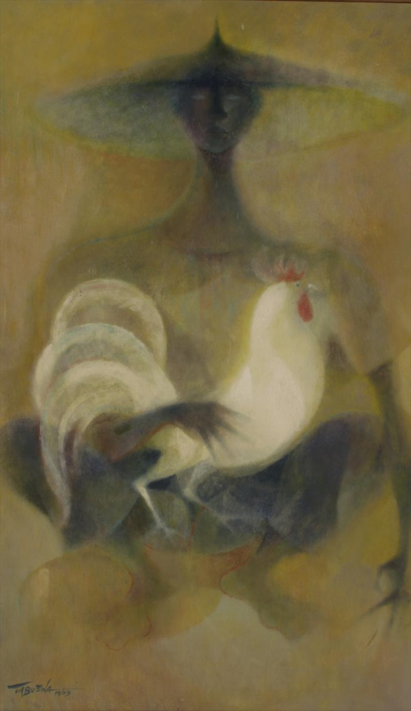 Romeo Villalva Tabuena, Filipino, B. 1921, Woman Holding Rooster, 1963. Sold For $13,125