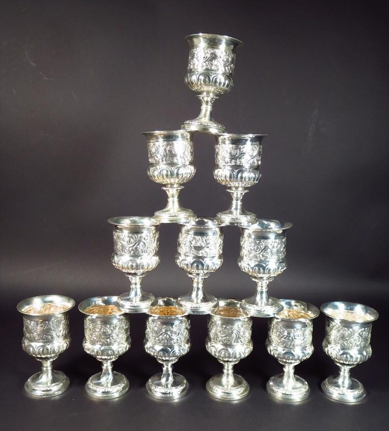 Set Of Twelve George III Sterling Silver Goblets, Paul Storr, 1808, London. Sold For $7,062