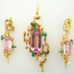 Chaumet Diamond, Emerald & Kunzite Pin & Earrings. Sold For A Combined Price Of $10,375