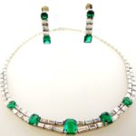 Emerald, Diamond And Platinum Necklace & Earrings. Sold For A Combined Price Of $56,250