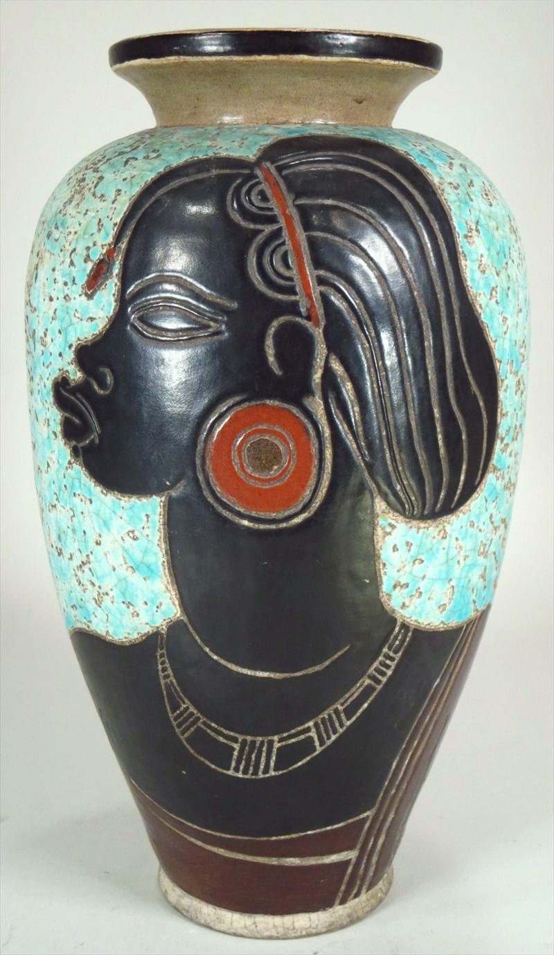 Rene Bertrand, French, 1877-1950, Art Deco Ceramic Vase. Sold For $8,506