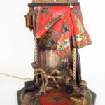 Orientalist Bronze Table Lamp, Viennese, Late 19th C., Man Smoking In Tent Being Entertained, Cold Painted Bronze. Sold For $9,131