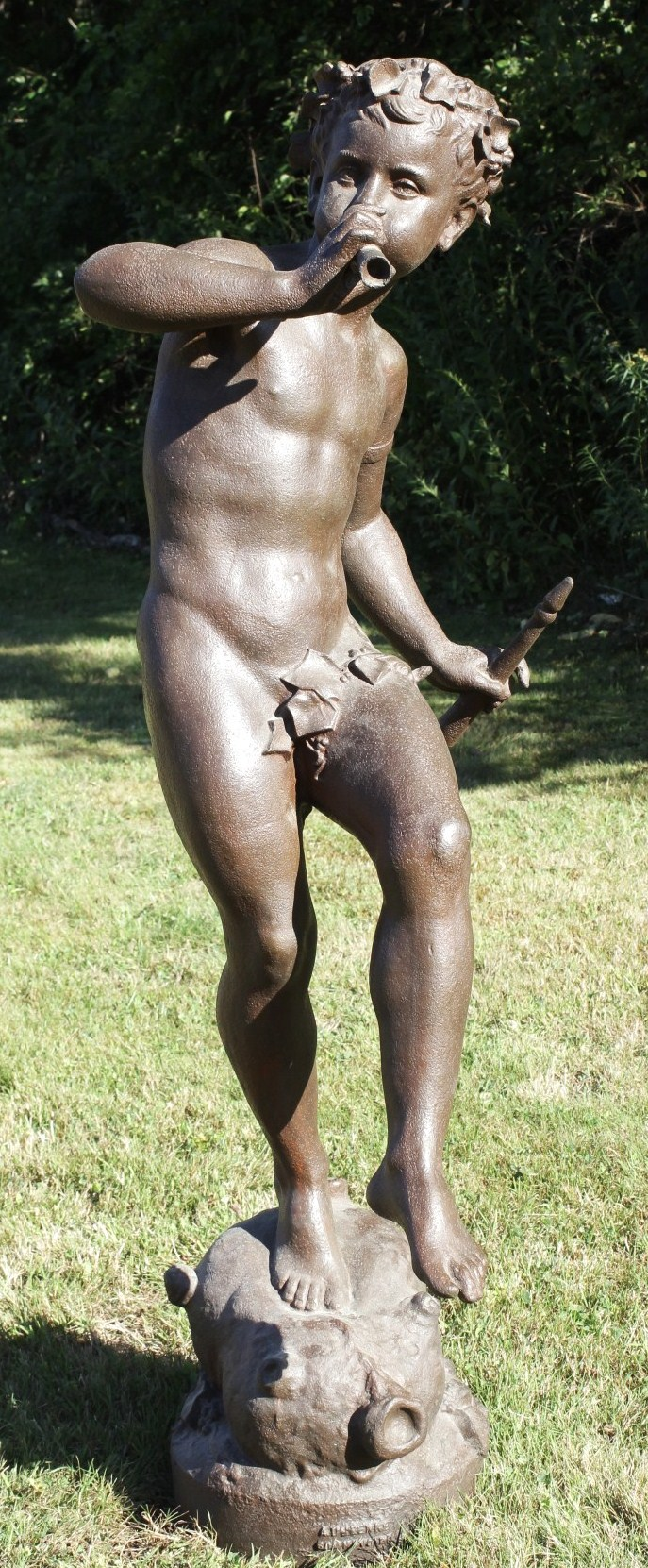 Large Bronze Bacchante On Wineskin Playing Flute. Sold For $6,093 In October 2015.
