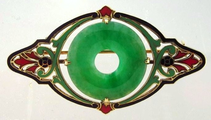 14K Gold, Jade And Enamel Brooch