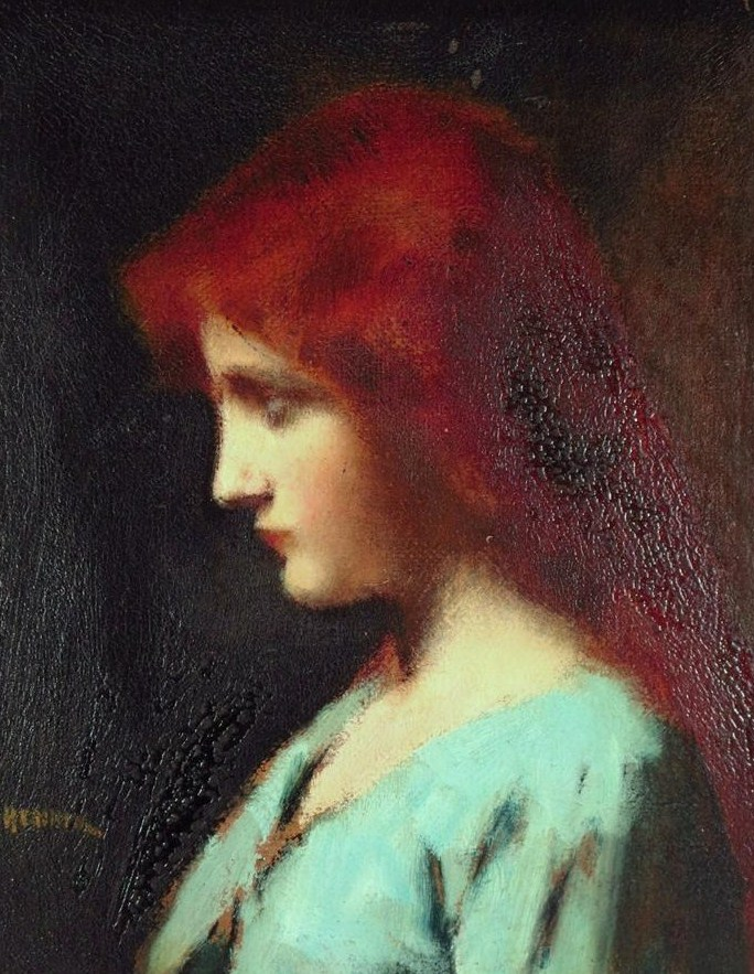 Jean Jacques Henner, French, 1829-1905, Lady In Blue