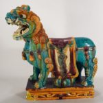 Large Chinese Polychromed Ceramic Foo Lion, C. 1900
