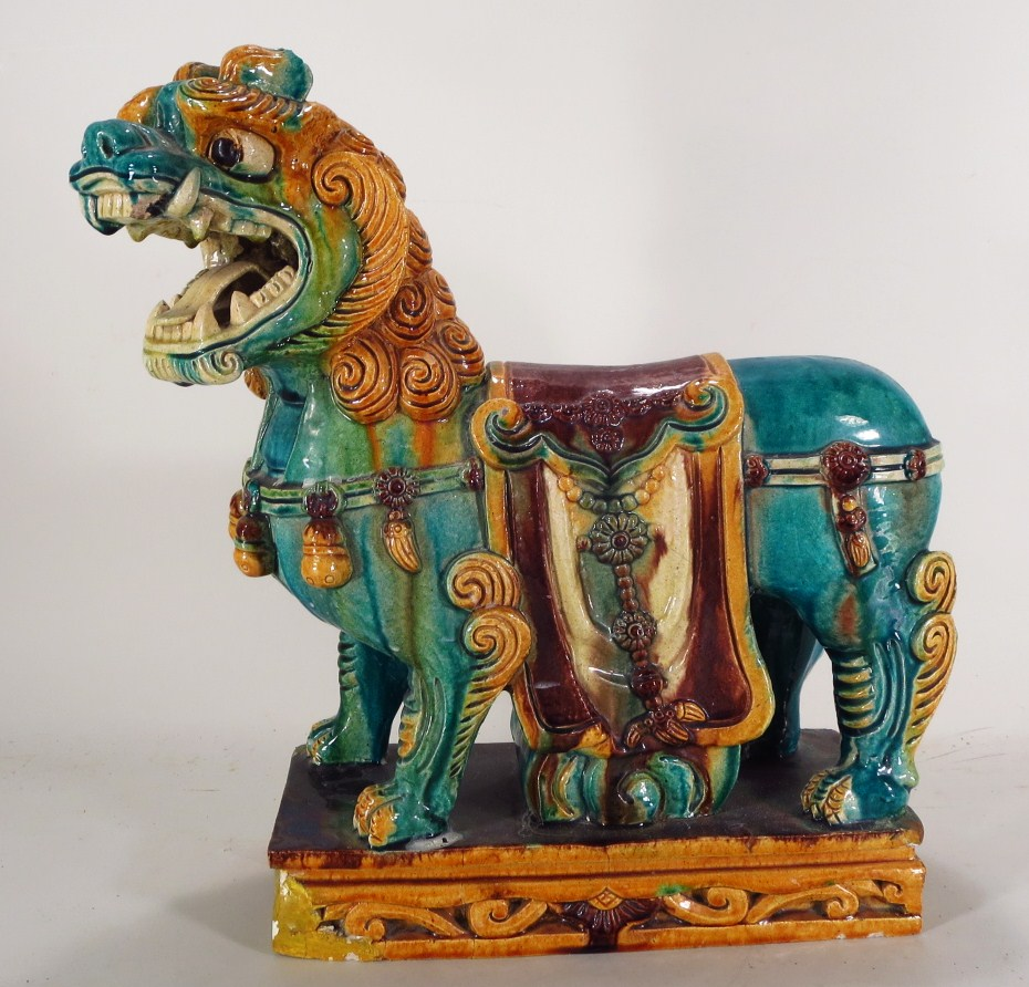 Large Chinese Polychromed Ceramic Foo Lion, C. 1900