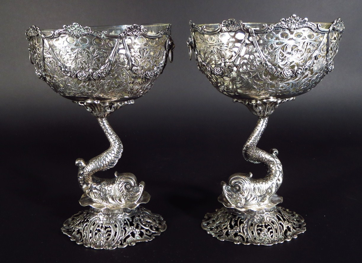 Pair Of Silver And Openwork Dolphin-stemmed Baroque-style Compotes, Marks Of Ludwig Neresheimer & Co Hanau, C. 1899