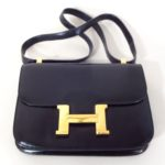 Vintage Hermes Black Leather Purse. Offered In LCA's Thankgiving Holiday Auction.