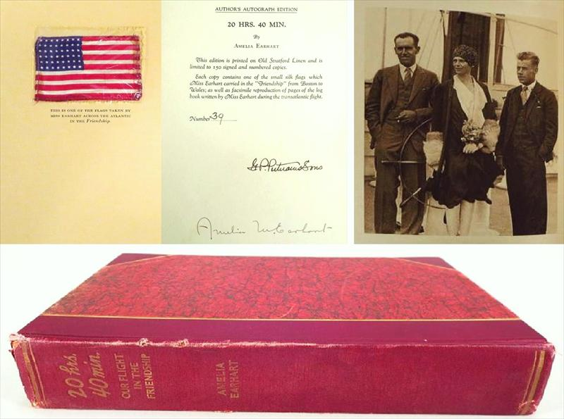 1928 Signed Amelia Earhart Book, 20 HRS. 40 MIN. Hand-Signed 1st Ed. With 'Friendship' Flag. Sold For $2,400.