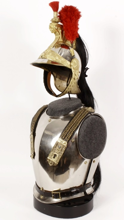19th C. French Brass & Steel Helmet, Breastplate. Sold For $2,000