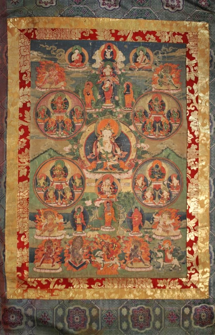 19th C. Tibetan – Nepalese Thangka Of Vajrasattva. Sold For 8,775