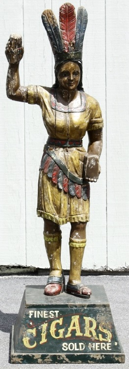 19th C. Wood Carved Cigar Store Indian Maiden. Sold For $4,875