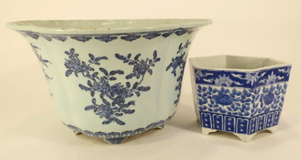2 Chinese Blue And White Porcelain Jardinieres. Sold For $8,775