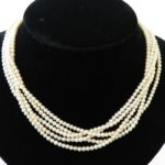 8. Lot 90. 5-strand Natural Pearl Necklace With Diamond Clasp. Sold For $8,775 ($800-1,200)