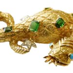 9. Lot 3. 18K Gold And Jeweled Schlumberger For Tiffany & Co. Salamander Brooch. Sold For $6,825 ($4,000-6,000)