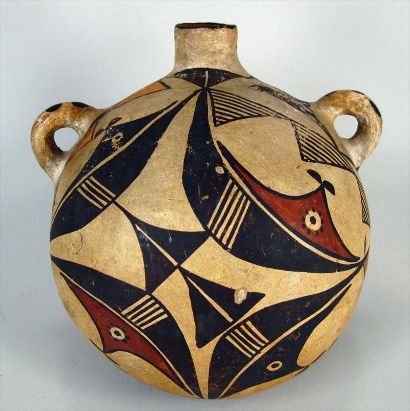 Acoma Polychromed Pottery Canteen, Native American, 19th-20th C. Sold For $1,037.