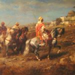 Adolph Schreyer, German, 1828-1899, Arab Horsemen, Oil On Canvas. Sold For $34,800.