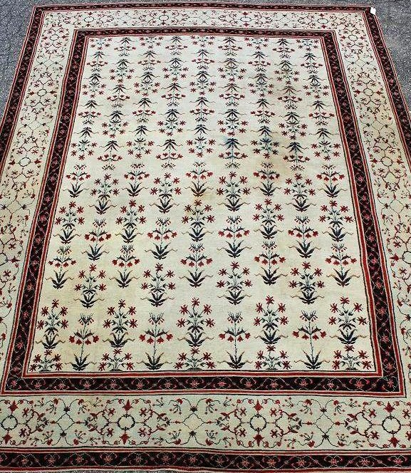 Agra Carpet, India, First Half Of 20th C. , Off White Ground. Sold For $11,563.