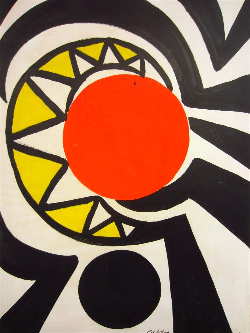 Alexander Calder, American, 1898-1976, 'Red Core', 1966, Gouache. Sold For $81,000.