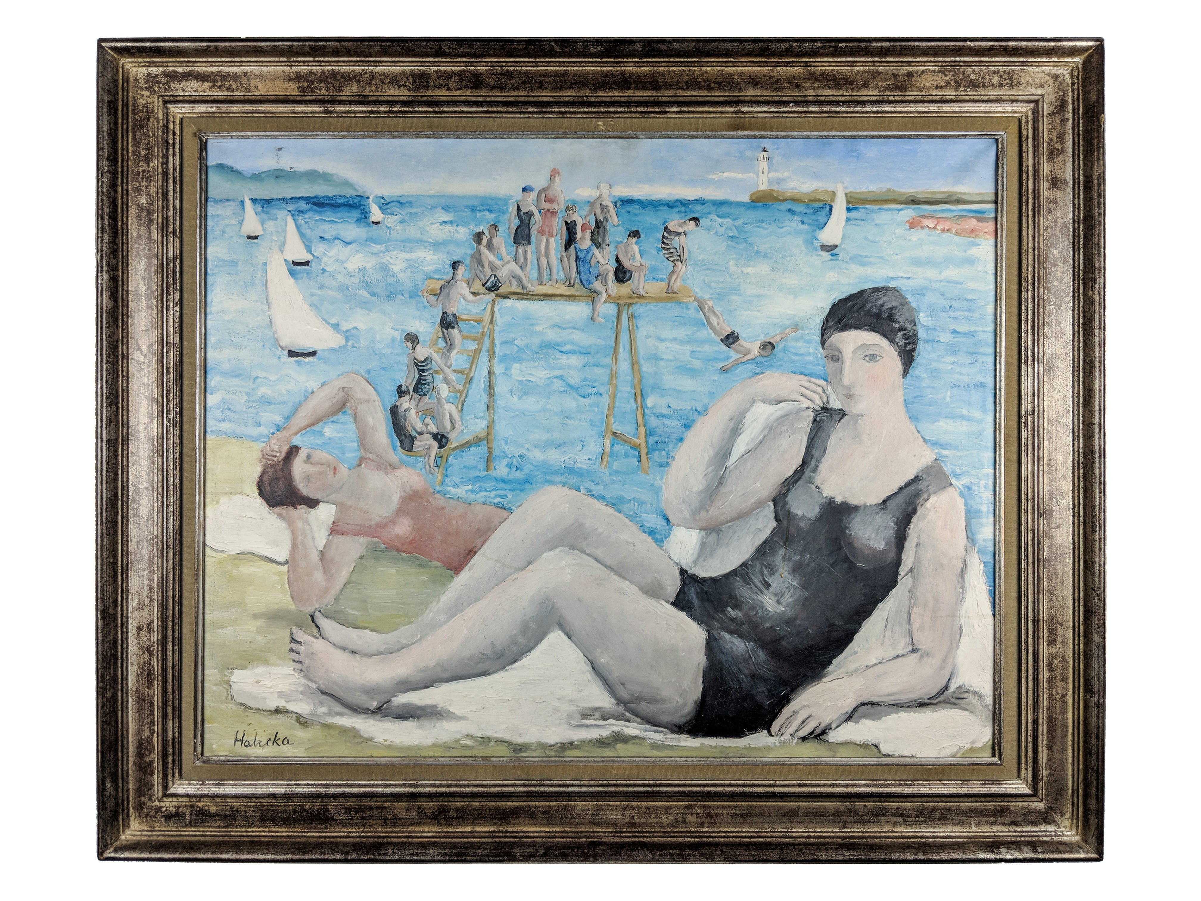 Alice Halicka (1895-1975) Beach Scene. Sold For $31,250 At Partner Capsule Gallery Auction