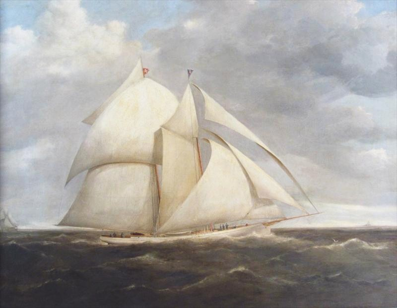 American, 19th C, Yacht Under Full Sail, Oil On Canvas. Sold For $7,812.