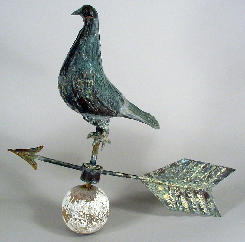 American Full Bodied Copper Pigeon Weathervane, 19th C. Sold For $2,937.