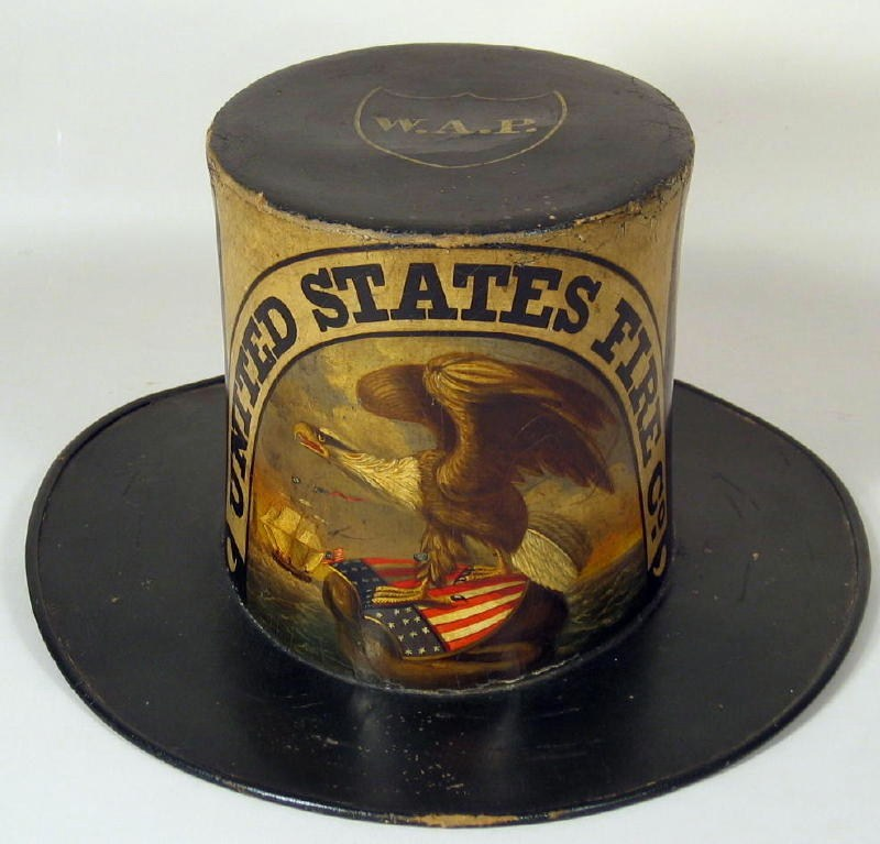 American Hand-Painted Parade Fire Hat, Philadelphia, C. 1850, Attributed David Bustill Bowser. Sold For $18,000.