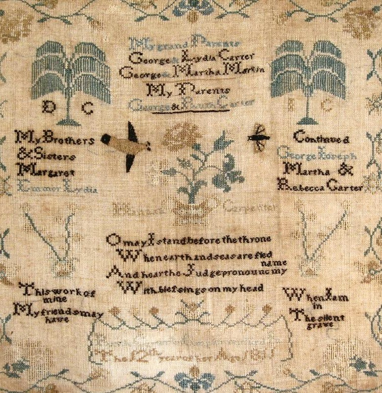 American Sampler, Early 19th C., The Carter Family Of Bradford Township, Chester County, PA. Sold For $1,625.