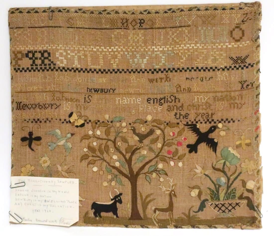 American Silk Pictorial Sampler On Linen By Hannah Johnson, Newbury, Mass. 1768. Sold For $20,150