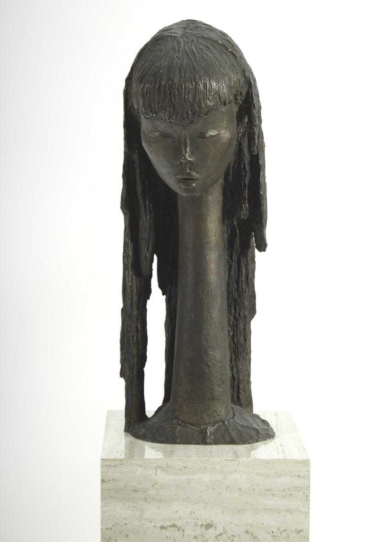 Angel Botello, (1913-1986) Portrait Of A Girl Bronze. Sold For $9,062