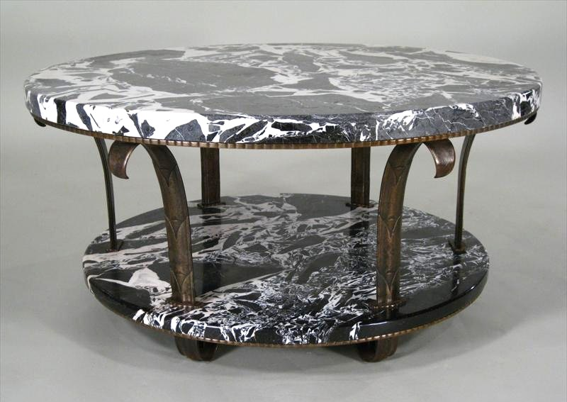 art deco 2-tiered marble & bronze coffee table, c. 1920's, made